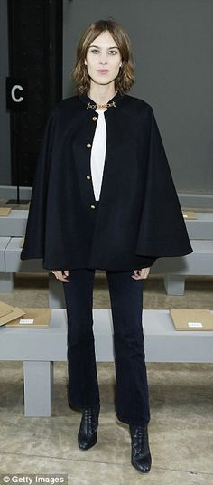 Caped crusader! Alexa Chung donned a cape for the night...