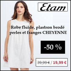 #missbonreduction; 50 % de remise sur la Robe fluide, plastron brodé perles et franges CHEYENNE chez Etam.http://www.miss-bon-reduction.fr//details-bon-reduction-Etam-i179-c1831825.html