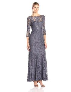 Adrianna Papell Illusion Yoke Lace Gown available at mother of the bride dress Mother Of Groom Dresses, Mothers Dresses, Mother Of The Bride Gowns, Mob Dresses, Formal Dresses, Bride Dresses, Bridesmaid Dresses, Illusion Dress, Illusion Neckline