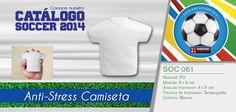 El Articulo del día es el SOC 061 - Anti-Stress Camiseta - Conoce más de nuestro Catálogo de Soccer 2014 en www.promoopcion.com Material: PU  Medida: 8 X 9 cm Área de impresión: 4 X 5 cm Técnica de impresión recomendada: Tampografía Color: Blanco Consulta existencias y precios con tu ejecutiva de cuenta.