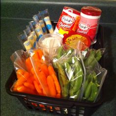 Healthy snack station in the fridge. Great idea!