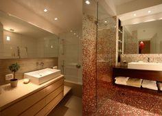mosaic in bathroom - pink and brown ronit kfir design