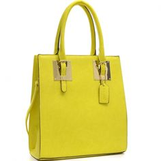Structured Faux Leather Tote Bag with Gold-Tone Accent yellow - fashlets.com