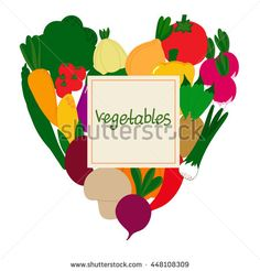Heart vegetables agriculture.Template for text. Color image isolated on a white background. Vector illustration.