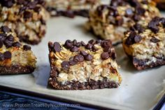 Protein Treats By Nicolette : ChocoNana Protein Oat Bars Protein Brownies, Protein Desserts, Protein Rich Foods, High Protein Low Carb, Healthy Deserts, Protein Snacks, Protein Bars, Healthy Foods, Healthy Recipes