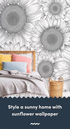 Invite a positive feel to your home with a sunflower wallpaper, a radiant flower thats instantly recognisable for its vibrant yellow petals. Sunflower Design, Sunflower Pattern, Yellow Sunflower, Mobile Wallpaper, Wallpaper Murals, Vintage Designs, Floral Designs, Sunflower Wallpaper, Pink Daisy
