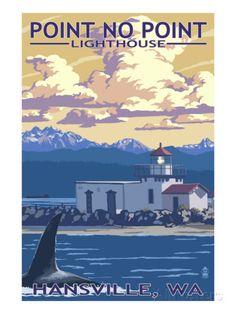 Point No Point Lighthouse - Hansville, WA Print bij AllPosters.nl