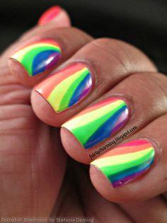 By Stefanie Deming. #nails #nailart #nailblogger #rainbow #ChinaGlaze #Orly @bloomdotcom