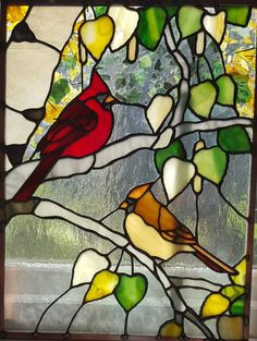 http://spectrumstainedglassstudio.com/index.html birds cardinals