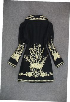 Embroidered Wool Coat Jacket in Black – Lily & Co.