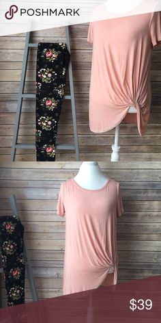 """✨NEW AARRIVAL✨ Peach Side Knot Tunic Peach Wash Dyed Side Knot Tunic. It's Flowy, Flirty, And Perfect For Spring!                                🌸BUST: S-18"""", M-19"""", L-20""""                              🌸LENGTH: S-23/27"""", M-24/28"""", L-25/39"""" Infinity Raine Tops Tunics"""
