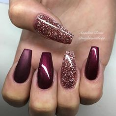 glitters with burgundy nails