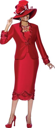 Terramina 7292 Red or Ivory Womens Formal Church Dress Skirt Suit size 8 to 26