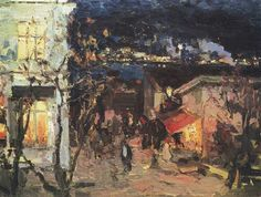 Yalta at night Ялта ночью Artist: Konstantin Korovin  Completion Date:1905  Style:Impressionism Genre: cityscape Tags: houses-and-buildings, twilight-and-night, Yalta,Crimea