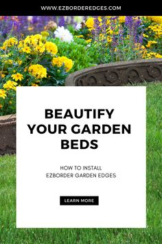 Beautify your garden beds with decorative edging! Made of recycled rubber from car and truck tires diverted from landfill, these edges are durable, all-weather resistant and flexible. Ideal for hugging garden curves, tree surrounds, or defining a walking path, see more project ideas at www.ezborderedges.com Garden Edging, Garden Borders, Garden Spaces, Garden Beds, Walking Paths, Recycled Rubber, Project Ideas, Eco Friendly, Curves