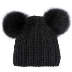 EUGENIA KIM Mimi Wool Knit Hat With Fox Fur Ears - Black