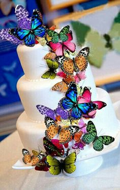 Beautiful butterflies details on this cake.