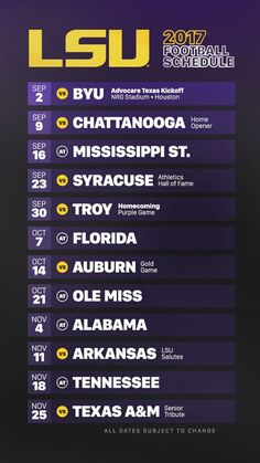 2019 LSU Tigers Football Schedule My Team Lsu, Lsu