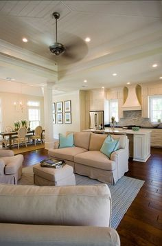 Open concept with the kitchen, living room and dining room all #home interior design 2012 #living room design
