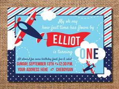 Airplane birthday invitation. This blue and red printable party invitation is perfect for your little ones first birthday.  You will be emailed $10.00