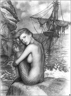 Artist - joan pelaez. Mermaid at ship wreck.