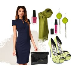 Navy dress with apple green accessories.