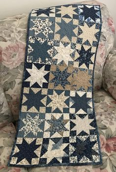 Star Block Quilt Table Runner in Blues, Creams and Tans by backporchquilts on Etsy