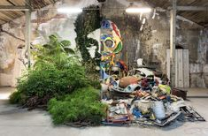 Bordalo II Opens the Doors to 'Attero,' a Giant Exhibition of Animal Assemblages Built with Trash Graffiti Art, Moss Graffiti, Murals Street Art, Animal Sculptures, Sculpture Art, Art Environnemental, Art Et Architecture, Exhibition Building, Trash Art
