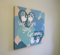 "Original, Custom, We love you, Handprint or Footprint Keepsake, 20x20"" by SnowFlowerArts on Etsy"