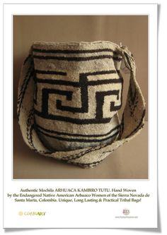 Colombian Wool Mochila Bag TUTU by the Arhuaco Tribe of the Sierra Nevada Colombia