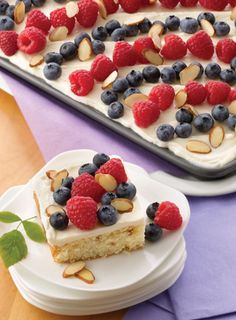 Almond Celebration Cake: This shortcake style sheet cake is topped with a luscious almond buttercream frosting and fresh fruits of summer. Blue Desserts, Just Desserts, Dessert Recipes, Patriotic Desserts, Fruit Dessert, Fruit Recipes, Cake Land, Sheet Cake Recipes, Sheet Cakes