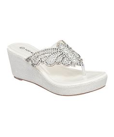 Look what I found on #zulily! White Shimmer Butterfly Wedge Sandal by TOP MODA #zulilyfinds