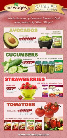 The Mrs. Wages Summer Produce Guide:  Make the most of seasonal summer food with products by Mrs. Wages!