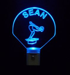 Personalized Boy @Swimmer Night Light LED Custom with Name #personalizedgift #LED #CLEVELAND