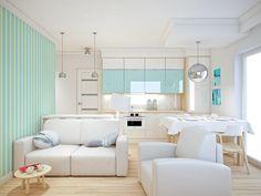 white & blue kitchen