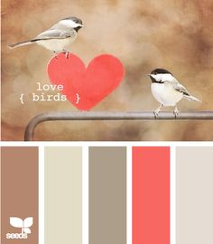love birds -- this is sweet. For the bedroom? Neutrals, plus a pop or two of coral, and maybe with a hint of deep, deep cobalt?
