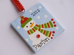 Hand Painted canvas snowman ornament