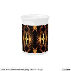 Gold Black Patterned Design Beverage Pitchers