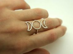Sterling silver hammered triple goddess moon ring