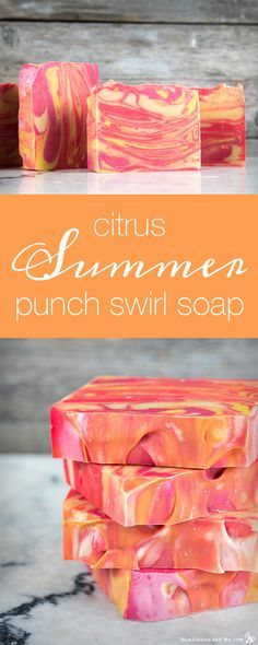 34 Spectacular DIY Soap Recipes Soap Recipes DIY - Citrus Summer Punch Swirl Soap - DIY Soap Recipe Ideas - Best Soap Tutorials for Soap Making Without Lye - Easy Cold Process Melt and Pour Tip Diy Savon, Savon Soap, Homemade Soap Recipes, Soap Making Recipes, Homemade Soap For Kids, Homemade Soap Bars, Bath Recipes, Homemade Crafts, Best Soap