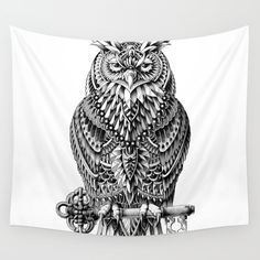 Great Horned Owl Wall Tapestry. #animals #black-white #illustration