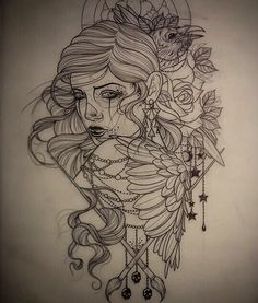 Gorgeous tattoo outline girl with raven Tattoo Sketches, Tattoo Drawings, Drawing Sketches, Gypsy Tattoo Design, Rockstar Tattoo, Raven Tattoo, Tattoo Outline, Tattoo Designs For Girls, Neo Traditional Tattoo