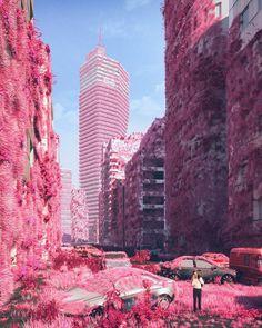 Captivating Dystopian Future Ambient In Mike Winkelmann Digital Art Cgi, Fantasy Landscape, Fantasy Art, Web Design, Graphic Design, Arte Cyberpunk, Fantasy Places, Futuristic Art, City Aesthetic