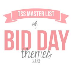 The Sorority Secrets' Master List of Bid Day Themes!