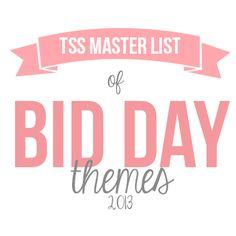 The Sorority Secrets' Master List of Bid Day Themes!  #Sorority #GreekLife #Greek #BidDay #BidDayThemes