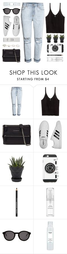 """""""Rebel"""" by monmondefou ❤ liked on Polyvore featuring H&M, Givenchy, adidas, Chive, Forever 21, NYX, Chantecaille, Thierry Lasry, Ouai and Baxter of California"""