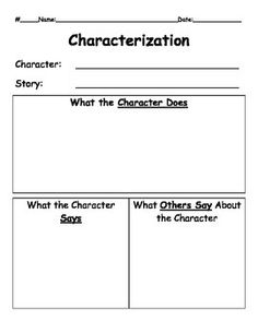 After reading a story, have students complete the Characterization graphic organizer for one of the characters.
