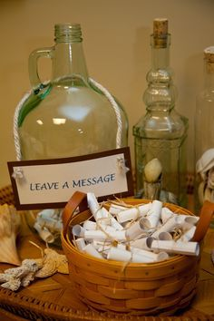 Beach Wedding Message in a Bottle for the guests to leave marriage advice for the newly weds to read on their anniversary ♥ Found the perfect Fall wedding idea??? We can create the favors to match Visit us at http://DaSweetZpot.com only in here http://designingweddings.net
