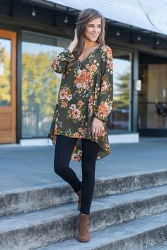 """""""Loved You First Tunic, Olive"""" We know you loved this tunic first! We can't blame you for loving it either! The floral print is gorgeous and the breezy fit is fall perfection! This high-low tunic looks great with skinnies!  #newarrivals #shopthemint"""