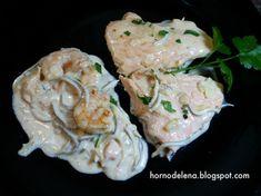 Recetas Caseras Fáciles MG: Salmón con gulas y gambas Fish, Chicken, Html, Salads, Fish Recipes, Homemade Recipe, Food, Wood Burning Oven, Pisces